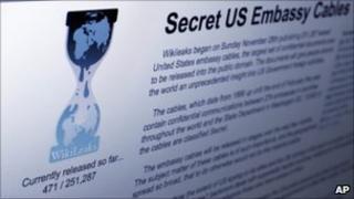 Screengrab of the Wikileaks homepage