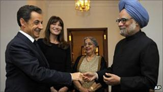 Indian PM ManmohanSingh with French President Nicholas Sarkozy in Delhi