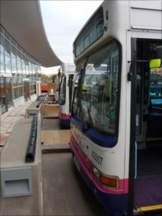 Bus parked at the new Swansea station