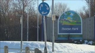 Thorpe Park caravan site entrance