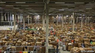 Staff at the Amazon Swansea fulfilment centre