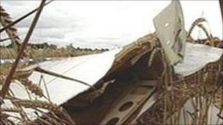 Wreckage of one of the planes which collided near Coventry Airport