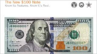Promotional material for the new $100 bill from the US Bureau of Printing and Engraving