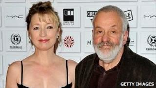 Lesley Manville and Mike Leigh attend the Moet British Independent Film Awards at Old Billingsgate Market on 5 December