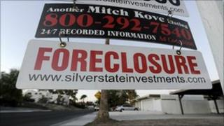 A foreclosure sign outside a property in Las Vegas