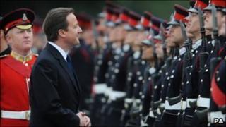David Cameron at Sandhurst passing out parade