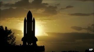 Space shuttle at dawn