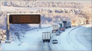 Vehicles travel eastbound along the M8 motorway near Harthill,