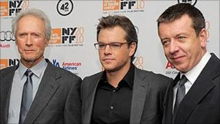 Peter Morgan (r) with Clint Eastwood (l) and Matt Damon