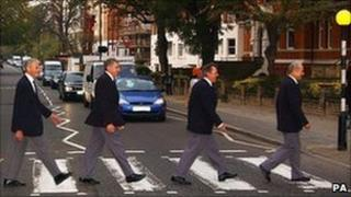 Fron Choir members on a visit to the Beatles' Abbey Road studios