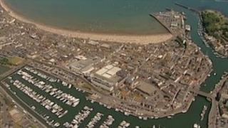 Aerial shot of harbour