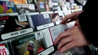 CDs in HMV store