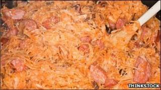 File picture of a dish of bigos, a staple Polish dish