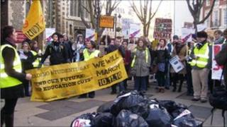 Students demonstrating in Reading