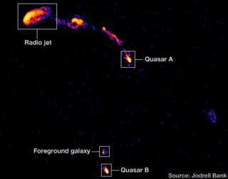 E-Merlin image of double quasar (Jodrell Bank)