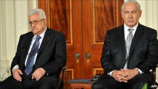 Mahmoud Abbas and Benjamin Netanyahu at the White House on 1 September 2010