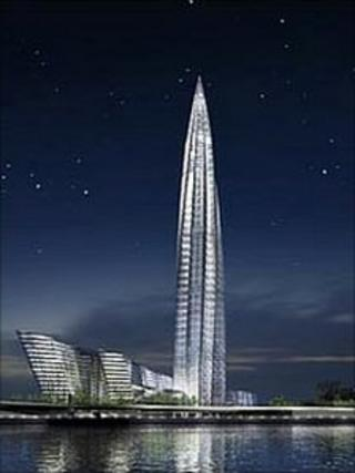 The planned Okhta Tower, image courtesy of RMJM