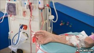 A person on a dialysis machine (generic)