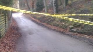 The cordoned off scene in Hyde