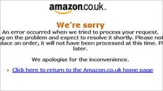 Amazon screen shot showing error message at about 2130 GMT on Sunday