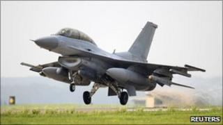 File photo of South Korean KF-16 fighter taking off during a military exercise at the South Korean airbase in Seosan