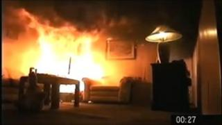 A living room on fire