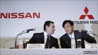 Nissan Motor Chief Executive Carlos Ghosn and Mitsubishi Motors Corp President Osamu Masuko