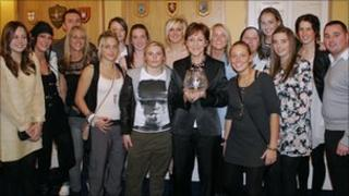 Middlesbrough Ladies with the award