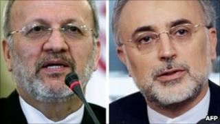 Manouchehr Mottaki (L) and Ali Akbar Salehi (R)