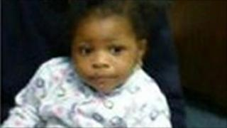 Undated Metropolitan Police handout photo of 18 month old Audrey Nyanor who taken from Walworth police station by an unknown woman who falsely claimed to be a friend of the toddlers mother