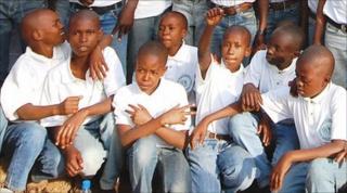 A group photo of Tanzanian children