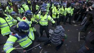Police and protesters clash during demo