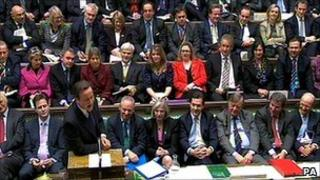 Conservative MPs sitting behind David Cameron at prime minister's questions