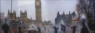 A scene from Doctor Who with cybermen by Westminster