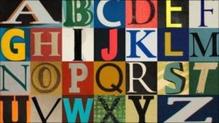 Letters of the alphabet taken from book covers