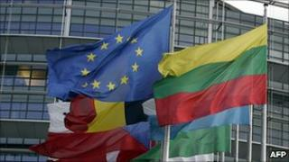 Flags at European Parliament, Strasbourg - file pic