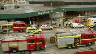 Emergency services outside King's Cross station on 7 July 2005
