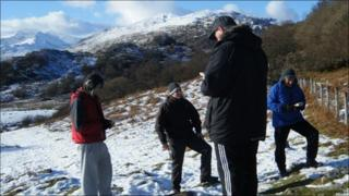 People on a navigation course at Plas y Brenin National Mountain Centre