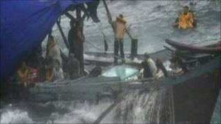 Passengers from boat shipwrecked on coast of Christmas Island, Australia - 15 December 2010