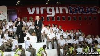 Virgin Blue staff addressed by founder Sir Richard Branson