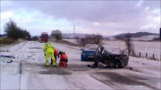A96 crash scene near Huntly