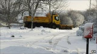 A snow plough clears a road at Slayley, Northumberland