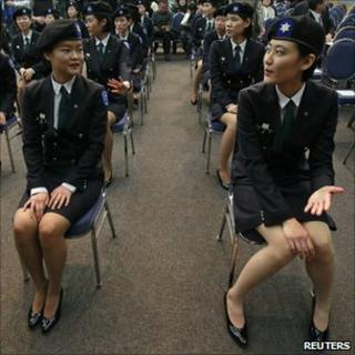 Cadets at Sookmyung University in Seoul