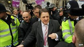 Nick Griffin leaves court on Friday