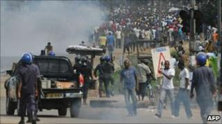 Ivory Coast police face supporters of Alassane Ouattara on Thursday 16 December