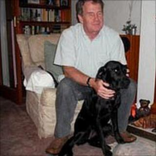Mike Brace and his guide dog Izzy