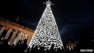 Christmas tree in Bogota's central square