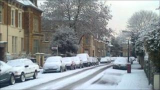 Snowy street in Clifton in Bristol