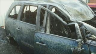 Crash and fire damaged Vauxhall car