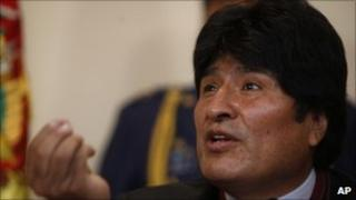 President Evo Morales at a press conference in la Paz, 3 December 2010